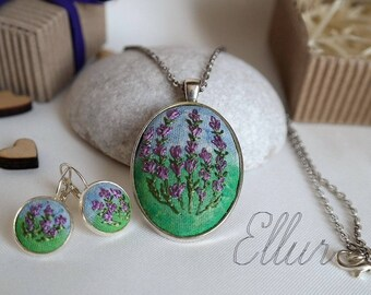 Embroidered earring pendant Lavender in pendant Purple wife gift Eco Embroidery jewelry set Green gift sister From daughter Flower Unusual