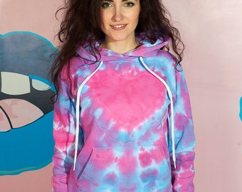 Heart tie dye hoodie Warm cotton ice dye casual hippie hoodie clothing gift for her