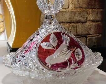 Bohemian Glass Ruby Bird Pattern