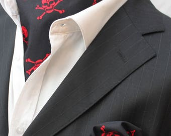 Cravat Ascot. UK Made. Skull Crossbones. Matching Hanky.Black & Red.
