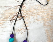 Orange, teal and purple handmade polymer clay necklace, 70cm polyester cord with breakaway clasp