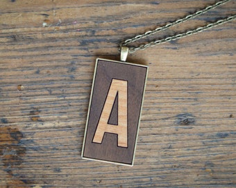 Wooden Inlay Letter / Initial Pendant - Laser Cut Wood Necklace (Personalized)