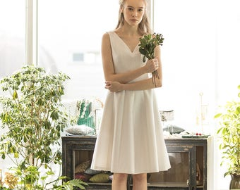Silk tea length sleeveless wedding dress, bridal reception dress, short wedding dress / Luna