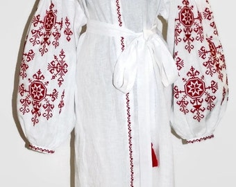 Long Embroidered Vyshyvanka Ukrainian Dresses White Linen Kaftan Abaya Dress Vishivanka Ukraine Embroidery Boho Clothes Bohemian Clothing