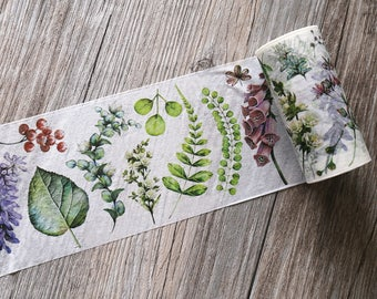 leaves washi tape, spring nature washi tape,leaf craft washi tape,90mmX5M tape,Plant & Flower Washi Tape