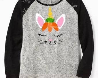 Easter Bunny Unicorn svg, easter svg, unicorn svg, bunny with carrots svg, easter bunny svg, PNG, DXF, Easter shirt, eggs svg, kids easter