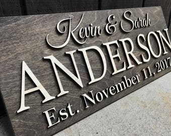 Personalized Wedding Gift Last Name Established Sign Family Name Sign Wooden Sign Custom Wood Sign Anniversary Couple Gift Personalized Sign