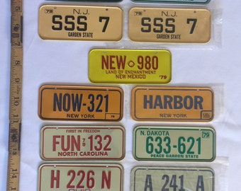 Mini License Plates, Vintage 1975-1983, Nevada New Hampshire New Jersey New Mexico New York North Carolina North Dakota Ohio Oklahoma