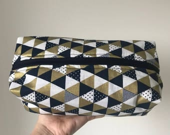 Navy, white and gold geometric print fully lined make up bag