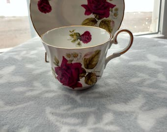 Ribbed Allyn Nelson Fine Bone China Tea Cup and Saucer with Red Roses