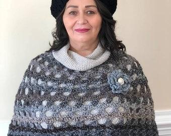 Grayish crochet poncho
