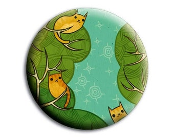 TREE CATS mirror by boygirlparty, cute cat pocket mirror for make up / purse, bridesmaid thank you gift