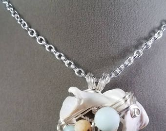 Found Shell and Amazonite Silver Wire Wrapped Pendant