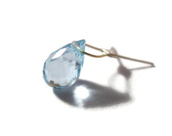 One Swiss Blue Topaz Briolette, AAA Quality Gemstone Bead for Making Jewelry, 8mm x 6mm, Beautiful Gemstone Bead (Luxe-Top4)