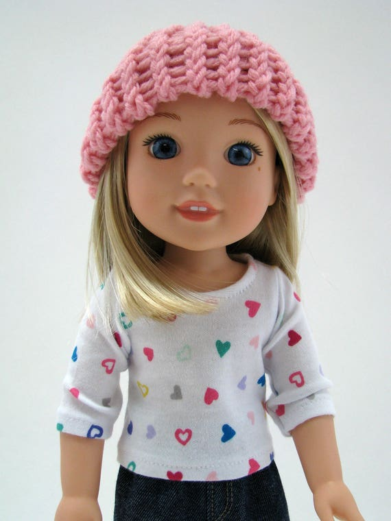 """14 Inch Doll Clothes - Fits Like Wellie Wisher - 14"""" Doll Hat - 14.5"""" Doll Knitted Hat - Pink - Handmade - American Doll - A Doll Boutique"""