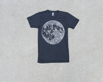 Moon T-Shirt, Adventure Shirt, Clothing Gift, Screen Print Shirt, Astronomy T Shirt, Made in USA, Blackbirdsupply Tshirt