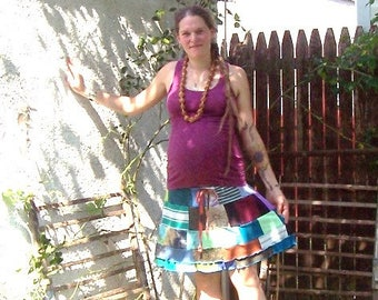Crazy Quilt Stargown Skirt ~ Ecofriendly Gypsy Traveler ~ Patchwork Hippie Spinners Adjustable Drawstring Skirt