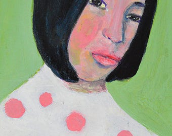 Original Acrylic Portrait Painting. Small Panel Art. Girl Portrait Art. Pink Polka Dots.