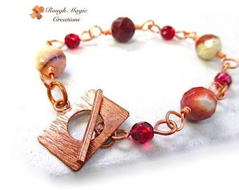 Red & Mustard Stone Copper Bracelet, Earthy Mookaite Jasper Gemstones, Rustic Toggle Clasp, Beaded Link Bracelet, Boho Gift for Women B164