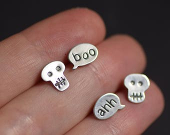 "Set of Earrings, Halloween Jewelry, Tiny Skulls and ""Boo"" ""Ahh"" Talk Bubble Stud Earrings, Spooky Halloween Earrings, Whimsical Earrings"