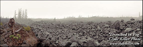 Belknap Crater, DRENCHED IN FOG, panorama, Clyde Keller photo, 2007