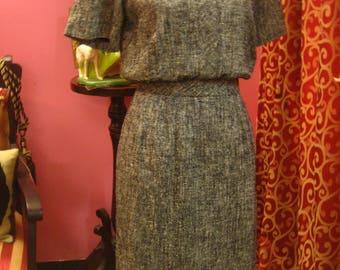 "1960's, 36"" bust, gray, black, and white herringbone cotton tweed dress"