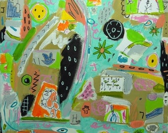 """Abstract, Collage Mixed, Media Outsider Children""""s Decor"""