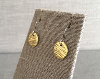 Dangling Brass Earrings - Brass and Silver Earrings - Brass Drop Earrings - Modern Brass - Hammered Brass Earrings - Minimalist Brass
