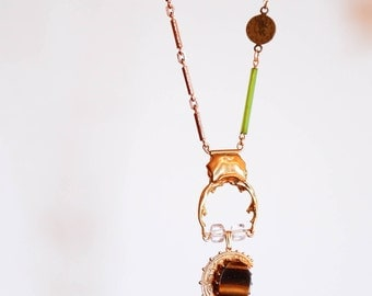 Tiger / necklace / one of a kind piece with beetle, tiger's eye, moon, vintage parts