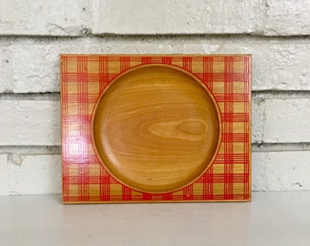 Vintage Red Gingham Plaid Child's Wooden Tray Dish Picnic // Baby Gift Idea