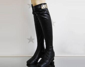 Vintage leather boots, vintage women boots,