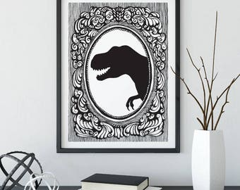 T-rex, Silhouette, taxidermy, animal, illustration, cameo, wall art, top best selling, gift under 30, art print, black & white, hand drawn