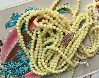 50 Vintage Cherry Brand, Miriam Haskell Glass Beads 3mm, Japan Opaque yellow, Tiny yellow beads, Shabby chic beads, vintagerosefindings #B20
