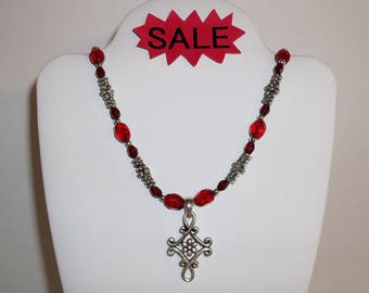 Vintage Necklace Cookie Lee Jewelry Costume Statement Piece Ruby Red Beads and Silver Toned Fashion Choker 18 Inch Accessory wvluckygirl