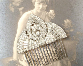 Edwardian/Art Deco TRUE Vintage 1920s Rhinestone Fan Bridal Hair Comb, Pave Crystal Heirloom Dress Clips Hairpiece, Great Gatsby Wedding