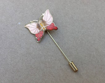 Butterfly Coral Peach Gold Colors Enamel Vintage Stick Pin