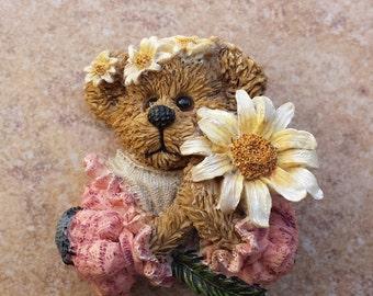 Boyds Bear Resin Pin, Springtime Bear, Flower Holding Bear, Bear Decorated with Flowers Brooch