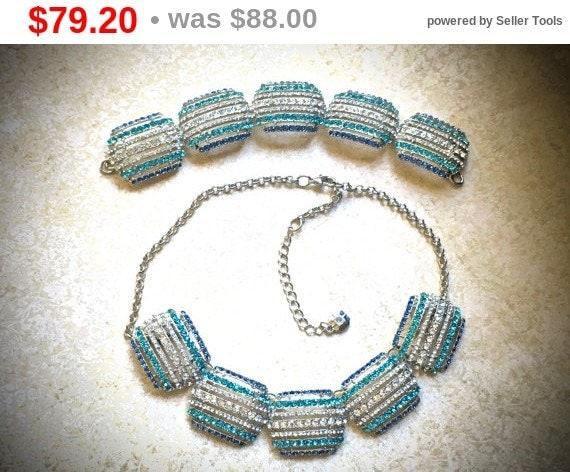 Summer Sale Monet Rhinestone Necklace and Bracelet set-Vintage