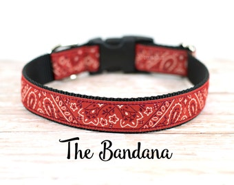 "Red Bandana Dog Collar, Bandana Dog Collar, Red Bandana Collar, Country Dog Collar, Buckle Collar, Martingale Collar, 1"" Wide"