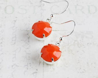 Orange Dangle Earrings, Bright Orange Earrings, Round Rhinestone Earrings on Silver Plated Hooks, Autumn Jewelry