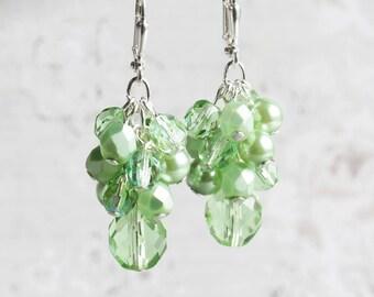 Light Green Beaded Cluster Dangle Earrings on Silver Plated Hooks