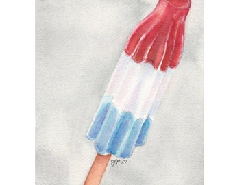 Bomb Pop Popsicle Still Life Watercolor Painting - Red, White, and Blue Dessert Illustration, Original Watercolor Painting, 5x7