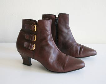 Enzo Angiolini Brown Ankle Boots 7.5