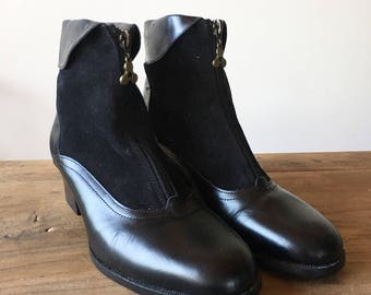 Vintage 90s Black Leather and Suede Zip-Up Boots, Gold Zipper, High Heel Boots, Women's Boots, Made in Spain, Size 39, Size 8.5