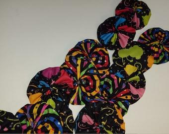 Bright print on Black Yo Yo MIX for crafting, jewelry making, card making