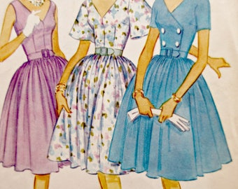 Vintage McCall's 5407 Sewing Pattern, 1960s Dress Pattern, Bust 36, Full Skirted Dress, Four Gore Skirt, V Neck Bodice, 1960s Sewing Pattern