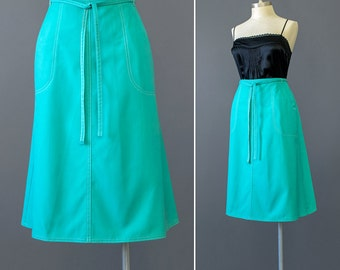 70s Wrap Skirt • Wrap Around Skirt • Turquoise Blue Skirt • Cotton Skirt with Pockets • Knee Length Midi Skirt • A line Skirt • 1970s Skirt