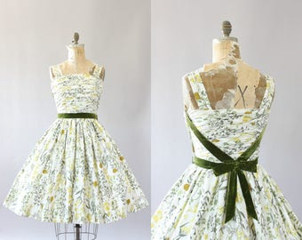 Vintage 50s Dress/ 1950s Cotton Dress/ Sylvia Bernie Miami White Cotton Dress with Yellow and Green Floral Print & Bow M