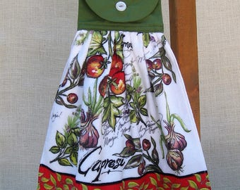 Tomato Kitchen Hanging Hand Towel, Garden Themed Towel, Red Green Kitchen Decor, Gift for Cook, Kitchen Cooking Towel