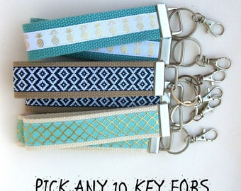 Womens Gift Under 10- 10 KEY FOB Wristlet- Bridesmaid Gift Idea- Wrist Keychain- Best Friend Gift Idea- Womens Key Ring- WRIST Key Chain